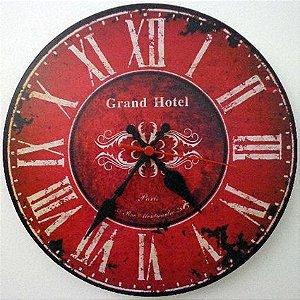 Relógio de Parede Grand Hotel Paris com 39 cm
