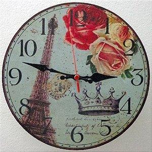 Relógio de Parede Torre Eifel Paris com 39 cm