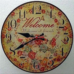 Relógio de Parede Welcome All Friends com 39 cm