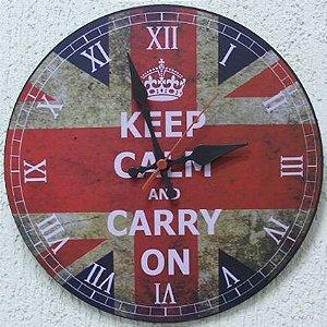 Relógio de Parede Keep Calm com 49 cm