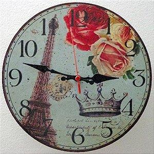 Relógio de Parede Torre Eifel Paris com 49 cm