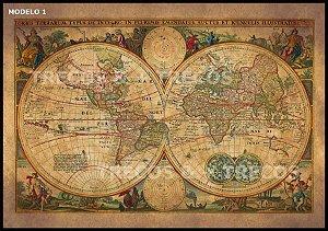 Placa MDF 40 x 28 - Mapa Mundi