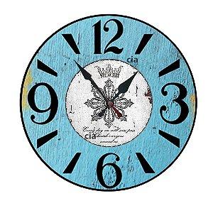Relógio de Parede Azul com 28 cm