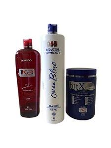 kit 1ka Ocean blue Progressiva P/ Shampoo+Ativo e maski