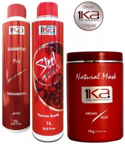 Kit Completo Escova Progressiva Inteligente 1ka Steel sheld Thermo Acrylic -Hair Professional