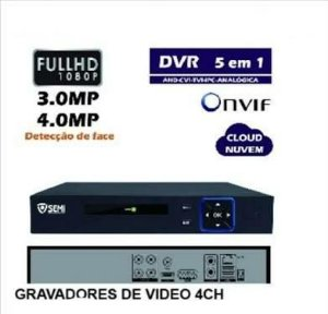 DVR Gravador Digital de Videos Full HD 1080P 5 em 1 Conexão via Internet App IOS Android e Windows - 4 Canais