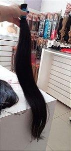 Mega Hair Cabelo Humano Castanho Normal Liso Levemente Ondulado 60 cm 100g