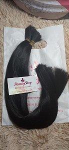Mega Hair Cabelo Humano Castanho Liso Levemente Ondulado 50 cm 120g Pontas Cheias