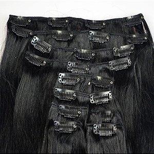 Mega Hair Cabelo Humano Tic Tac Preto Liso 50 cm 120g Kit 7 peças