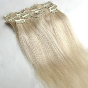 Mega Hair Cabelo Humano Tic-Tac Loiro Platinado Liso 60cm 120g Kit 7 peças