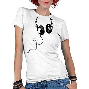 Camiseta Feminina Fones Ouvido Nerd Geek Gamer DJ Música - Personalizadas/ Customizadas/ Estampadas/ Camiseteria/ Estamparia/ Estampar/ Personalizar/ Customizar/ Criar/ Camisa Blusas Baratas Modelos Legais Loja Online