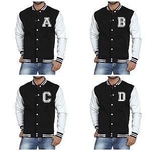Jaqueta College Masculina Letras Iniciais Nomes Alfabeto de A a Z - Jaquetas Colegial Americana Universitária Baseball de Frio Preto e Branco Personalizadas Blusas / Casacos / Blusão Baratos