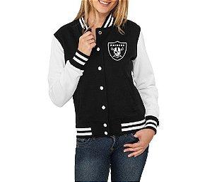 Jaqueta College Feminina Raiders - Jaquetas Colegial/ Americana/ Universitária/ Baseball/ de Frio/ Preto e Branco/ Personalizadas/ Blusas/ Casacos/ Blusão Baratos