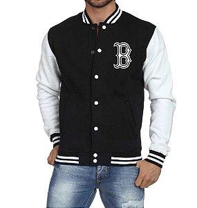 Jaqueta College Masculina Boston - Jaquetas Colegial/ Americana/ Universitária/ Baseball/ de Frio/ Preto e Branco/ Personalizadas/ Blusas/ Casacos/ Blusão Baratos