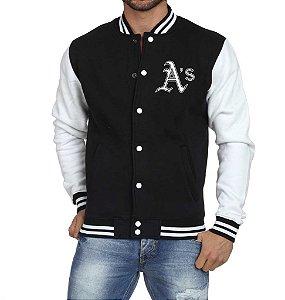 Jaqueta College Masculina Oakland Athletics - Jaquetas Colegial/ Americana/ Universitária/ Baseball/ de Frio/ Preto e Branco/ Personalizadas/ Blusas/ Casacos/ Blusão Baratos