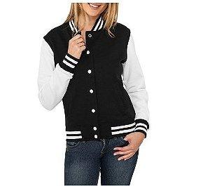 Jaqueta College Feminina Lisa Básica - Jaquetas Colegial Americana Universitária Baseball de Frio Preto e Branco Personalizadas Blusas/ Casacos/ Blusão Baratos