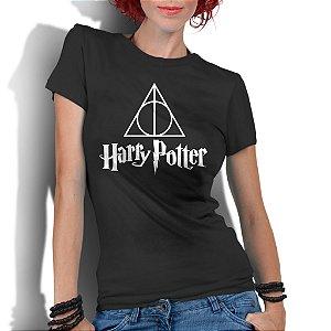 Camiseta Feminina Harry Potter E As Relíquias - Personalizadas/ Customizadas/ Estampadas/ Camiseteria/ Estamparia/ Estampar/ Personalizar/ Customizar/ Criar/ Camisa Blusas Baratas Modelos Legais Loja Online