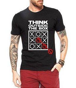 Camiseta Masculina Frases Pense Fora da Caixa - Personalizadas/ Customizadas/ Estampadas/ Camiseteria/ Estamparia/ Estampar/ Personalizar/ Customizar/ Criar/ Camisa Blusas Baratas Modelos Legais Loja Online