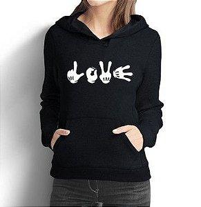 Moletom Feminino Hands Love - Moletons Personalizados Blusa/ Casacos Baratos/ Blusão/ Jaqueta Canguru