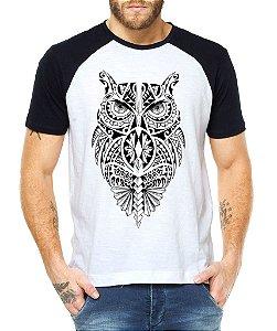 Camiseta Masculina Raglan Coruja Tribal Tattos  - Personalizadas/ Customizadas/ Estampadas/ Camiseteria/ Estamparia/ Estampar/ Personalizar/ Customizar/ Criar/ Camisa Blusas Baratas Modelos Legais Loja Online