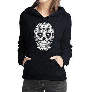 Moletom Feminino Caveira Mexicana Tribal Tatto - Moletons Personalizados Blusa/ Casacos Baratos/ Blusão/ Jaqueta Canguru