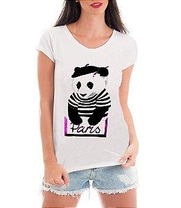 Camiseta Tshirt Feminina Rendada Paris Panda Criativa- Personalizada/ Estampadas/ Camiseteria/ Estamparia/ Estampar/ Personalizar/ Customizar/ Criar/ Camisa T-shirts Blusas Baratas Modelos Legais Loja Online