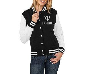 Jaqueta College Feminina Universitária Faculdade Psicologia Colegial Moletom Blusas de Frio Casaco Personalizadas Customizadas Moleton Uniformes Cursos Americana Baseball Estilo Americano