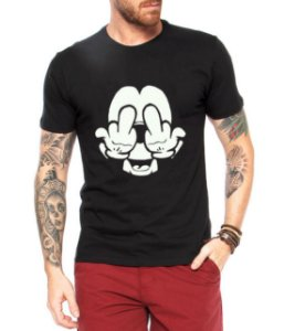 Camiseta Masculina Mickey Fockyou - Personalizadas/ Customizadas/ Estampadas/ Camiseteria/ Estamparia/ Estampar/ Personalizar/ Customizar/ Criar/ Camisa Blusas Baratas Modelos Legais Loja Online