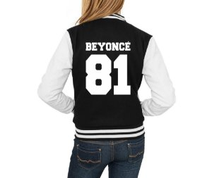 Jaqueta College Feminina Beyoncé 81 Casaco Moletom- Jaquetas Colegial Americana Universitária Baseball de Frio Preto e Branco Personalizadas Blusas/ Casacos/ Blusão Baratos