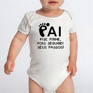 Body Bebe Frases Papai Passos - Roupinhas Macacão Infantil Bebe Roupa Manga Curta Menino Menina Personalizados