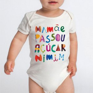 Body Bebe Personalizado Frases Engraçadas Divertido Açucar Nimim - Roupinhas Macacão Infantil Bodies Roupa Manga Curta Menino Menina Personalizados
