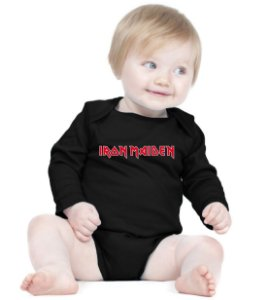 Body Bebê Banda Rock Iron Maiden - Roupinhas Macacão Infantil Bodies Roupa Manga Longa Menino Menina Personalizados