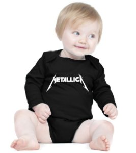 Body Bebê Banda Rock Metallica - Roupinhas Macacão Infantil Bodies Roupa Manga Longa Menino Menina Personalizados