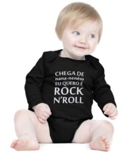 Body Bebe Frases Engraçadas Banda de Rock n' Roll - Roupinhas Macacão Infantil Bodies Roupa Manga Longa Menino Menina Personalizados