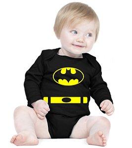 Body Bebê Batman Morcego Herói - Roupinhas Macacão Infantil Bodies Roupa Manga Longa Menino Menina Personalizados
