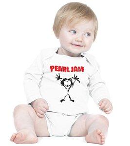 Body Bebe Banda de Rock Pearl Jam - Roupinhas Macacão Infantil Bodies Roupa Manga Longa Menino Menina Personalizados