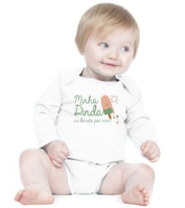 Body Bebê Frases Divertidas Dinda Se Derrete - Roupinhas Macacão Infantil Bodies Roupa Manga Longa Menino Menina Personalizados