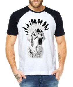 Camiseta Raglan Cachorro Índio Engraçados Divertidos  - Personalizadas/ Customizadas/ Estampadas/ Camiseteria/ Estamparia/ Estampar/ Personalizar/ Customizar/ Criar/ Camisa Blusas Baratas Modelos Legais Loja Online
