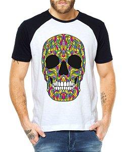 Camiseta Raglan Caveira Mexicana Colorida  - Personalizadas/ Customizadas/ Estampadas/ Camiseteria/ Estamparia/ Estampar/ Personalizar/ Customizar/ Criar/ Camisa Blusas Baratas Modelos Legais Loja Online
