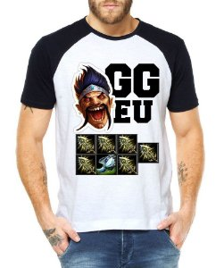 Camiseta Raglan Draven LOL League of Legends Games  - Personalizadas/ Customizadas/ Estampadas/ Camiseteria/ Estamparia/ Estampar/ Personalizar/ Customizar/ Criar/ Camisa Blusas Baratas Modelos Legais Loja Online