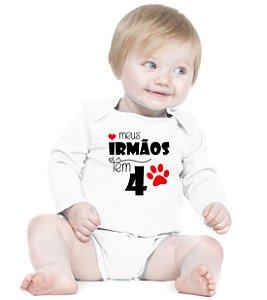 Body Bebê Frases Engraçadas e Divertidas Irmão e Irmã 4 patas Manos Criativa Urbana Branca - Roupinhas Macacão Infantil Bodies Roupa Manga Longa Menino Menina Personalizados