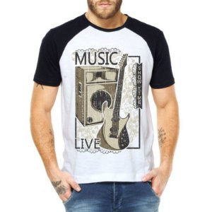 Camiseta Raglan Hora do Show Guitarra  - Personalizadas/ Customizadas/ Estampadas/ Camiseteria/ Estamparia/ Estampar/ Personalizar/ Customizar/ Criar/ Camisa Blusas Baratas Modelos Legais Loja Online