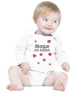 Body Bebê Frases Engraçadas e Divertidas Madrinha Dinda Ataque Tia Criativa Urbana Branca - Roupinhas Macacão Infantil Bodies Roupa Manga Longa Menino Menina Personalizados