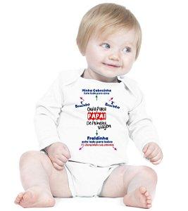 Body Bebê Frases Engraçadas e Divertidas Papai instruções Guia Criativa Urbana Branco - Roupinhas Macacão Infantil Bodies Roupa Manga Longa Menino Menina Personalizados