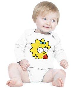 Body Bebê Maggie The Simpsons Desenhos Amor de Fã Branca- Roupinhas Macacão Infantil Bodies Roupa Manga Longa Menino Menina Personalizados