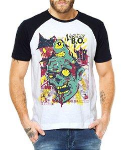 Camiseta Masculina Raglan Zumbi - Personalizadas/ Customizadas/ Estampadas/ Camiseteria/ Estamparia/ Estampar/ Personalizar/ Customizar/ Criar/ Camisa Blusas Baratas Modelos Legais Loja Online