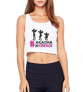 Top Cropped Blusa Branco Frases Academia Fitness Agacha que Cresce - Modelos Femininos Camiseta Regata Roupa da Moda Personalizadas/ Customizadas/ Camiseteria/ Camisa T-shirts Baratas Modelos Legais Loja Online