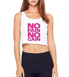 Top Cropped Blusa Branco Frases Academia Fitness No Gain - Modelos Femininos Comprar Online Camiseta Regata Roupa da Moda