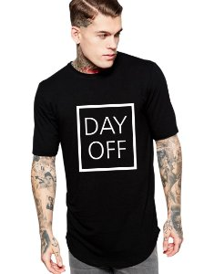 Camiseta Long Line Oversized Masculina Day Off Camisetas Barra Curvada - Camisetas Personalizadas/ Customizadas/ Estampadas/ Camiseteria/ Estamparia/ Estampar/ Personalizar/ Customizar/ Criar/ Camisa Barata Modelos Legais Loja Online