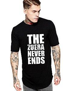 Camiseta Long Line Oversized Masculina Zuera Never Ends Camisetas Barra Curvada - Camisetas Personalizadas/ Customizadas/ Estampadas/ Camiseteria/ Estamparia/ Estampar/ Personalizar/ Customizar/ Criar/ Camisa Blusas Baratas Modelos Legais Loja Online